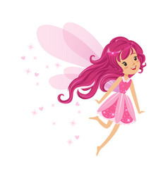 beautiful smiling pink fairy girl flying colorful vector image vector image