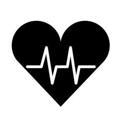 black icon heart beat pulse vector image