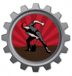 digger badge vector image vector image