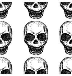 eamless pattern skull on white background vector image