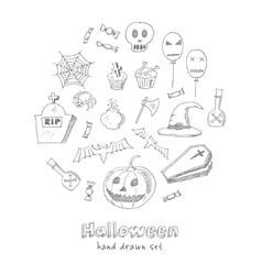 Happy Halloween Trick or Treat Doodles Hand Drawn vector image