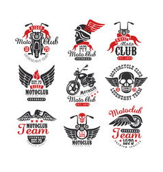 set of vintage motorcycle club logos emblems vector image