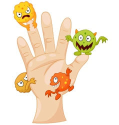 Dirty palm with cartoon germs vector