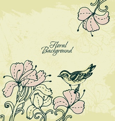 Floral background with bird vector image