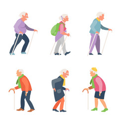 nordic walking old people travelers with canes vector image vector image