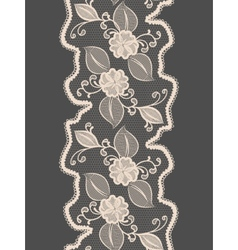 Seamless lace vertical ribbon with abstract floral vector image
