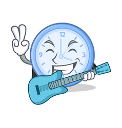 with guitar clock character cartoon style vector image vector image
