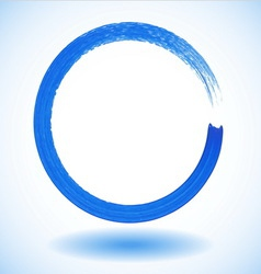 Blue paintbrush circle frame vector image