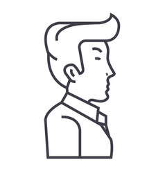 businessman manager side view line icon vector image