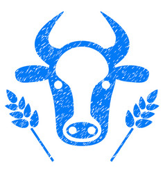 cow and wheat agriculture icon grunge watermark vector image vector image