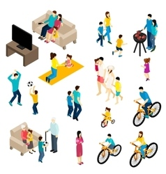 Family Isometric Set vector image vector image