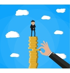 hand tries to pull coin out of stack vector image vector image