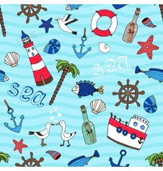 Nautical seamless pattern in retro style vector image vector image