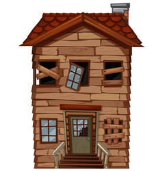 old wooden house with broken windows vector image vector image