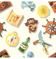 Seamless pattern with pirate icons vector image