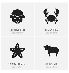 set of 4 editable animal icons includes symbols vector image vector image