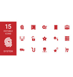 15 system icons vector image