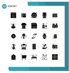 25 universal solid glyph signs symbols train vector
