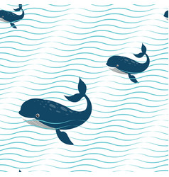 Abstract wavy seamless pattern with whales vector