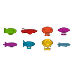 aerostat icon set color outline style vector image