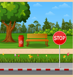 autumn city park with bench and trash vector image