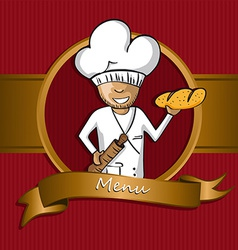 Baker chef cartoon badge menu design vector
