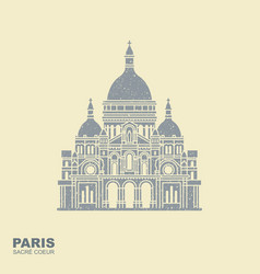 basilica sacre coeur paris france monument vector image