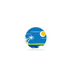 beach nature palm tree logo vector image