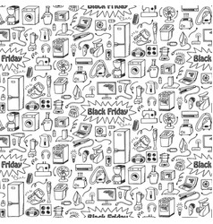 Black friday household doodle seamless pattern vector