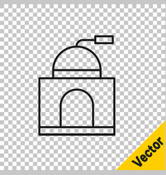 black line manual coffee grinder icon isolated on vector image