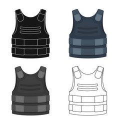 Bulletproof vest icon in cartoon style isolated on vector