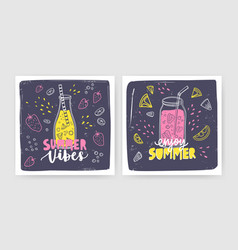 bundle of square card templates with smoothies vector image