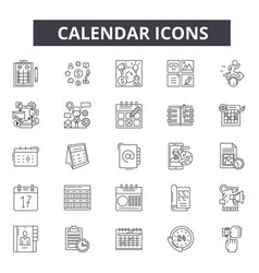calendar line icons for web and mobile design vector image