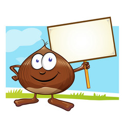 chestnut cartoon with signboard on color vector image