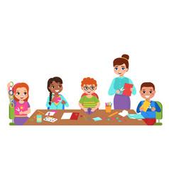 Children craft with teacher kids art hobby vector