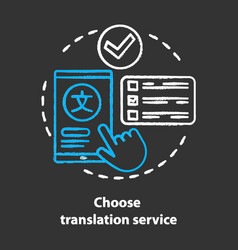 Choose translation service chalk concept icon vector