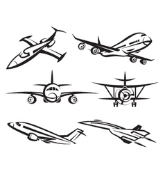 collection of aircraft vector image