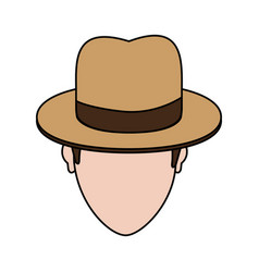color image cartoon faceless man with hat and bow vector image