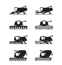 Combine harvester in different perspective vector