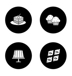 Condectionery glyph icons set vector