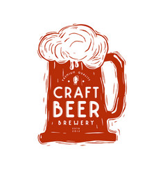 craft beer mug and typographic emblem vector image