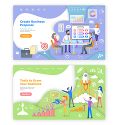 create proposal tools to grow business web pages vector image