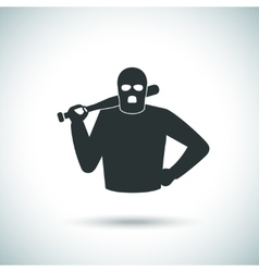 Criminal hoodlum icon vector