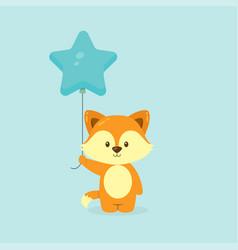 Cute fox holding balloon free vector