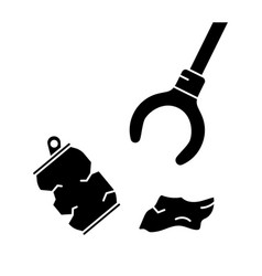 Cutout silhouette claw grip with trash cleaning vector