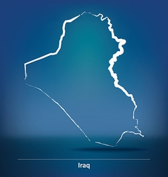 Doodle Map of Iraq vector image