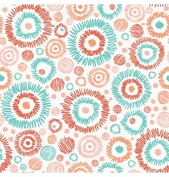 Doodle textured circles seamless pattern vector image