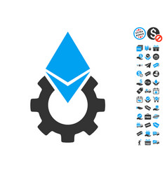 Ethereum tools gear icon with free bonus vector