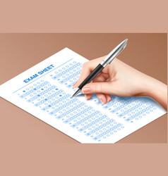 Exam sheet fill composition vector
