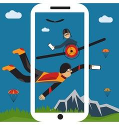Extreme selfie parachutist and pilot flat design vector